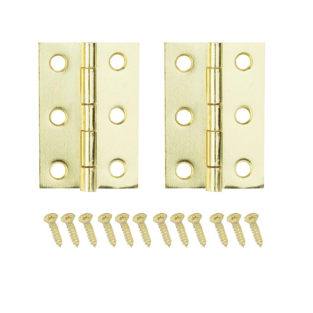 Everbilt 2 in. x 1-3 16 in. Bright Brass Middle Hinges-19674 - The ... c5972420c2