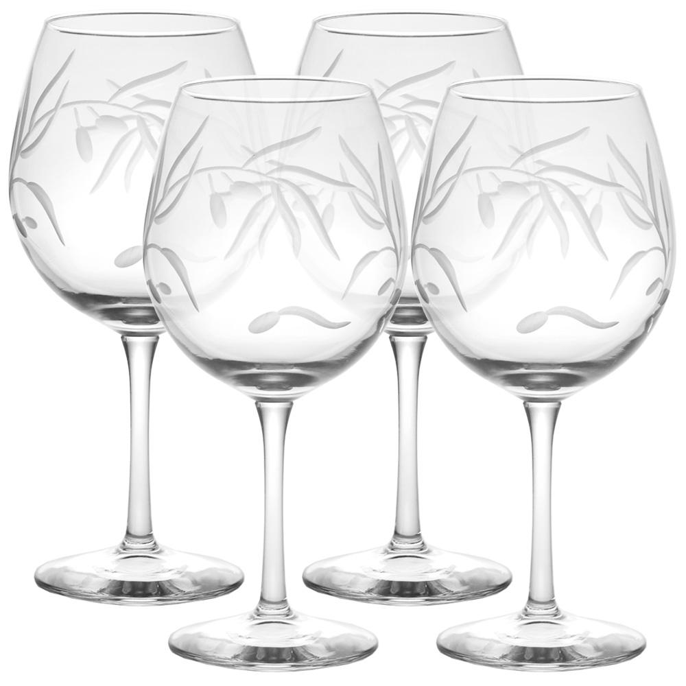 Olive Branch Clear 18 oz. Balloon Wine Glass (Set of 4)