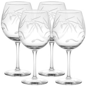 Click here to buy Rolf Glass Olive Branch Clear 18 oz. Balloon Wine Glass (Set of 4) by Rolf Glass.
