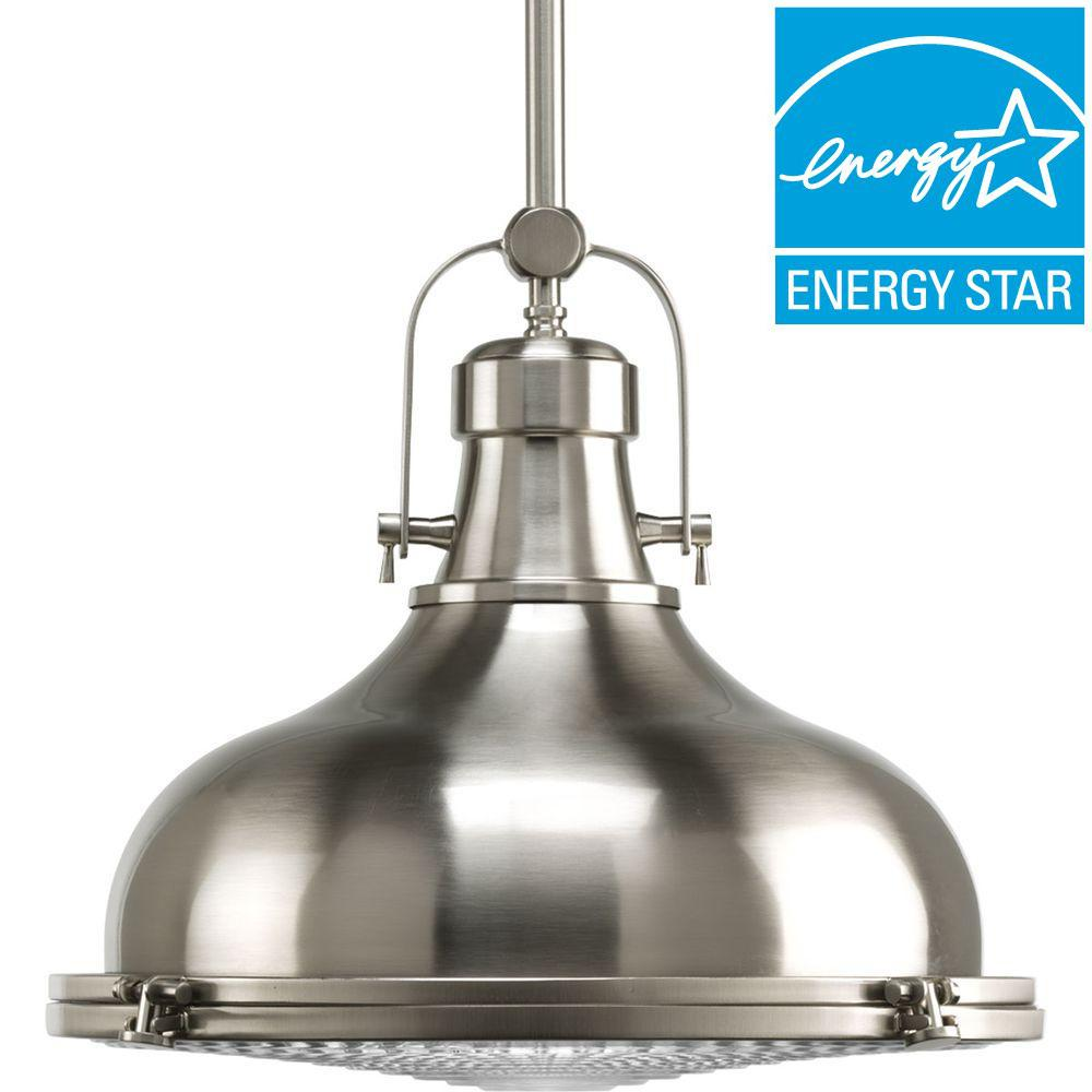 Progress Lighting Fresnel Lens Collection 1 Light Brushed Nickel Integrated Led Mini Pendant With