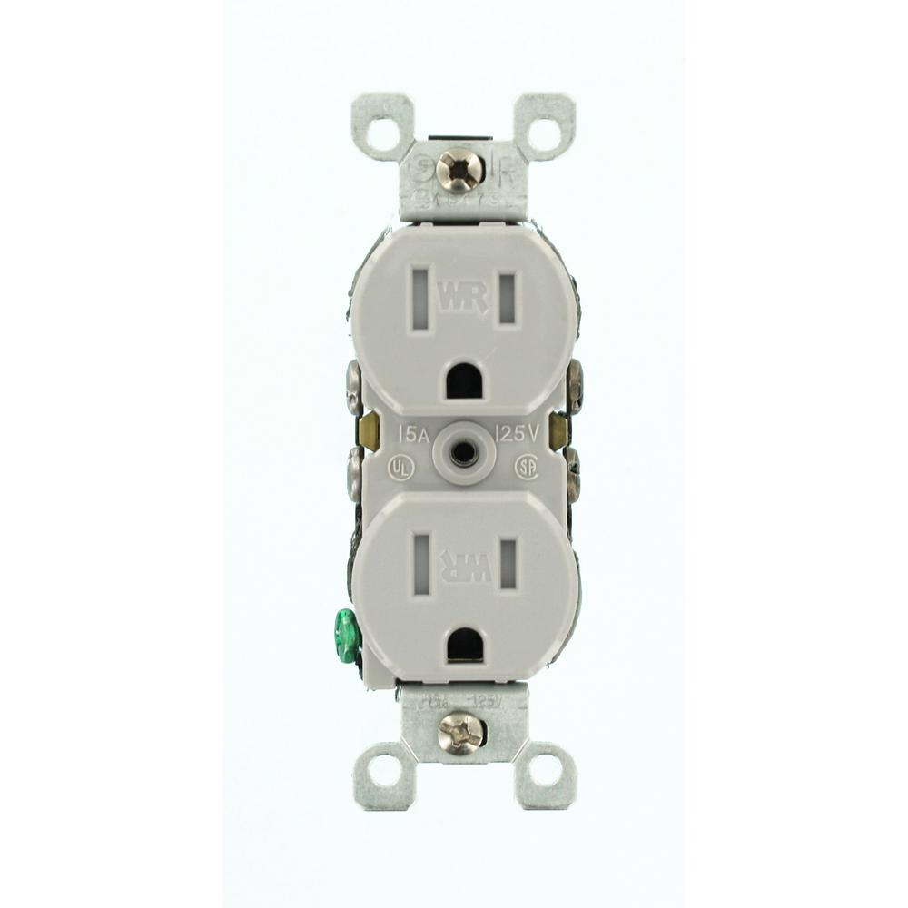 Leviton 2-Pole Residential Grade Weather and Tamper-Resistant Duplex ...