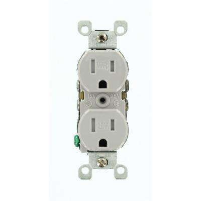 2-Pole Residential Grade Weather and Tamper-Resistant Duplex Outlet, Gray