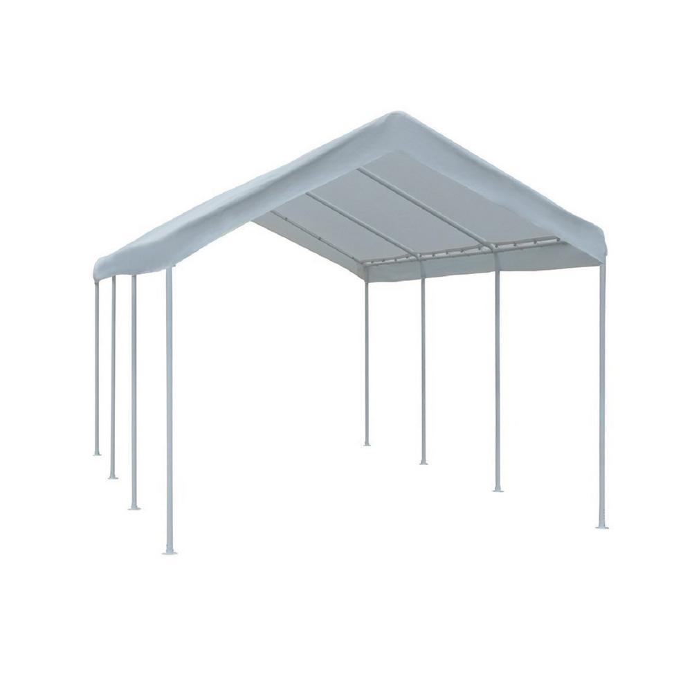 10 ft. W x 20 ft. D x 9.4 ft. H White Steel Carport