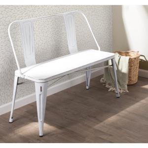 Excellent Lumisource Oregon Vintage White Metal Bench Bc Ormtl Vw Andrewgaddart Wooden Chair Designs For Living Room Andrewgaddartcom