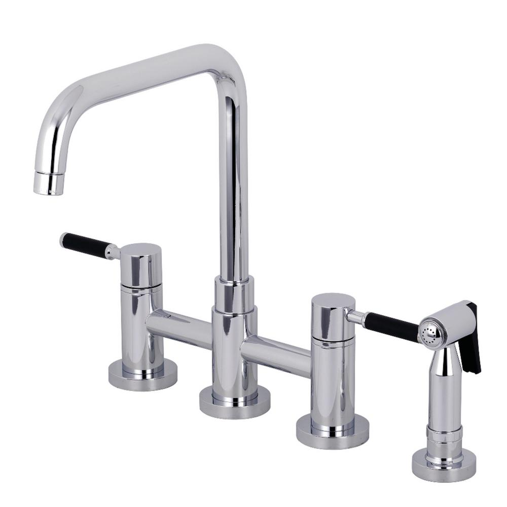Kingston Brass Concord 2-Handle Bridge Kitchen Faucet with Side Sprayer in Polished Chrome