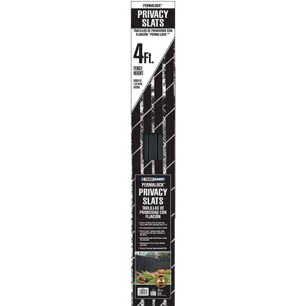 4 ft. H x 10 ft. W Black Perma-Lock Double Wall Privacy Slats