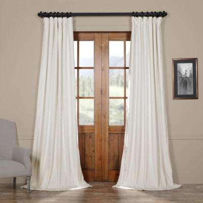 Blackout Signature Off White Velvet Curtain 50 In W X 96