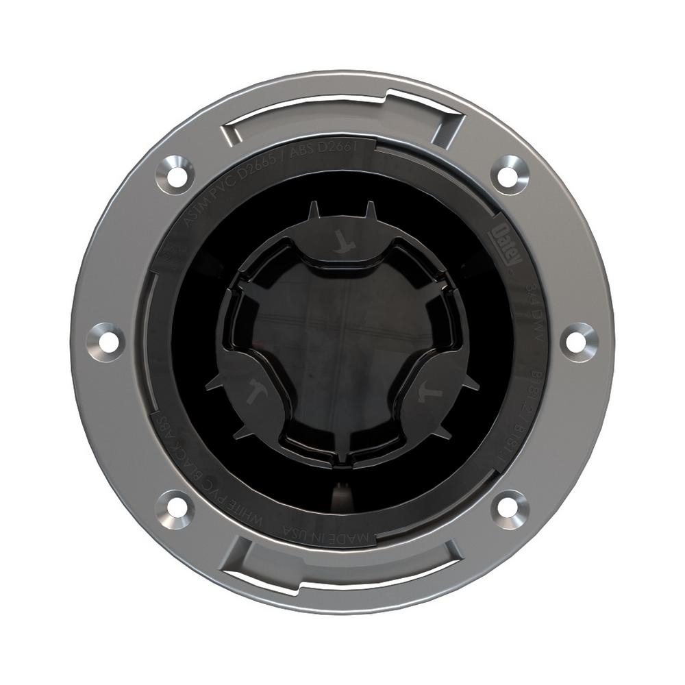 """Oatey Fast Set 3""""x4"""" ABS, Hub Toilet Flange with Test Cap and Stainless Steel Ring"""