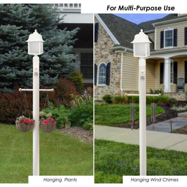 Solus 8 Ft White Outdoor Lamp Post, White Lamp Post With House Number