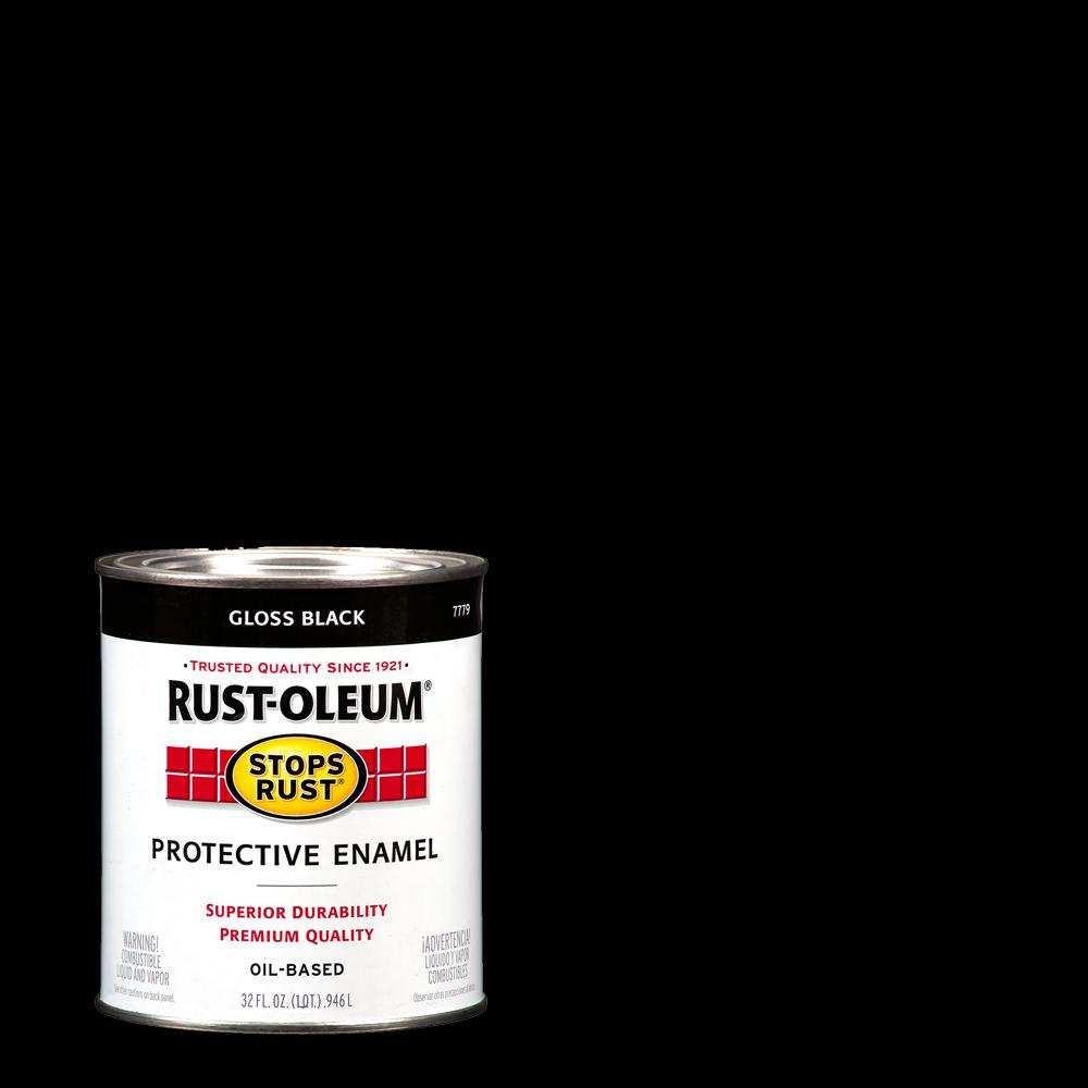 Rust-Oleum Stops Rust 1 Qt  Protective Enamel Gloss Black Interior/Exterior  Paint