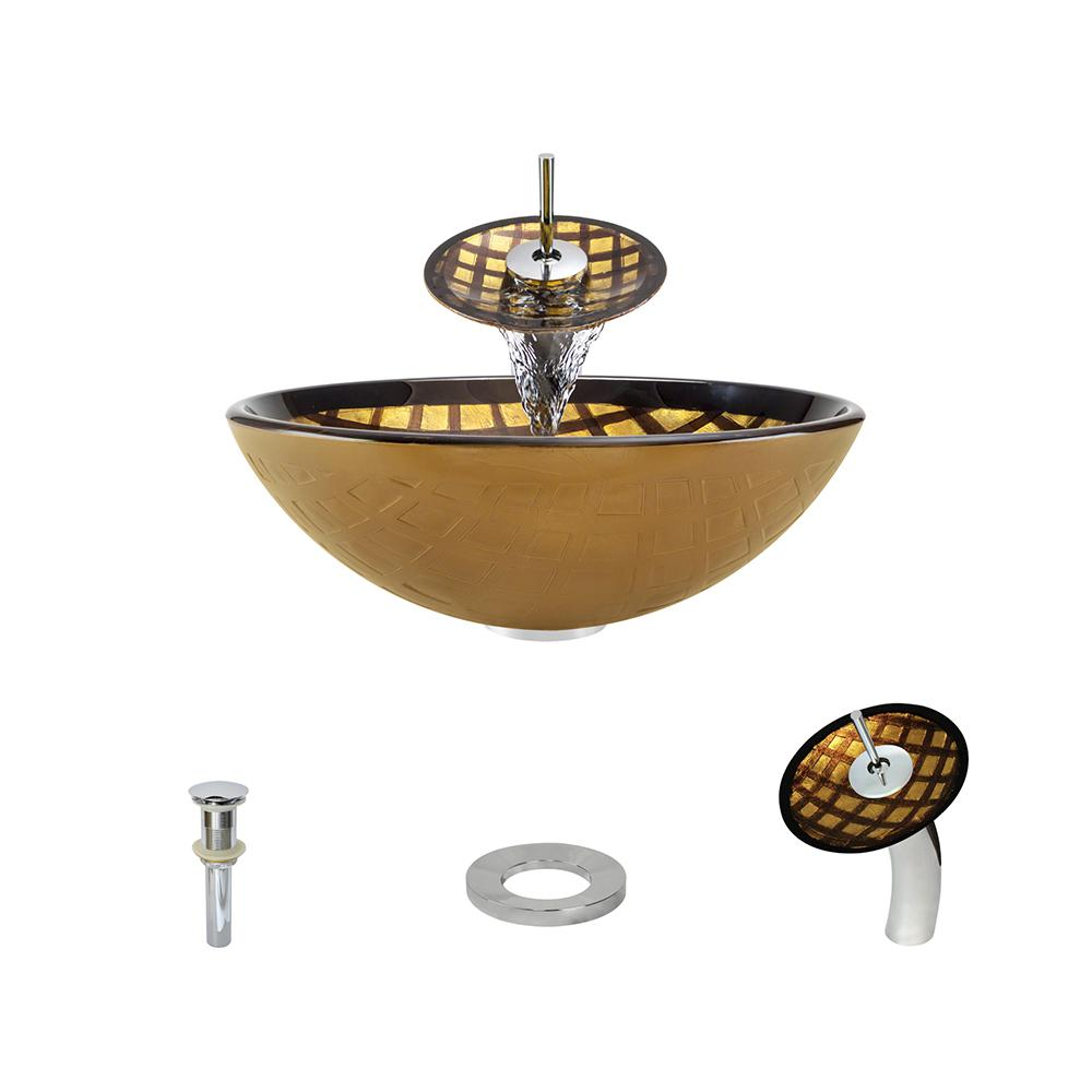 MR Direct Glass Vessel Sink in Gold and Brown Foil Underlay with Waterfall Faucet and Pop-Up Drain in Chrome