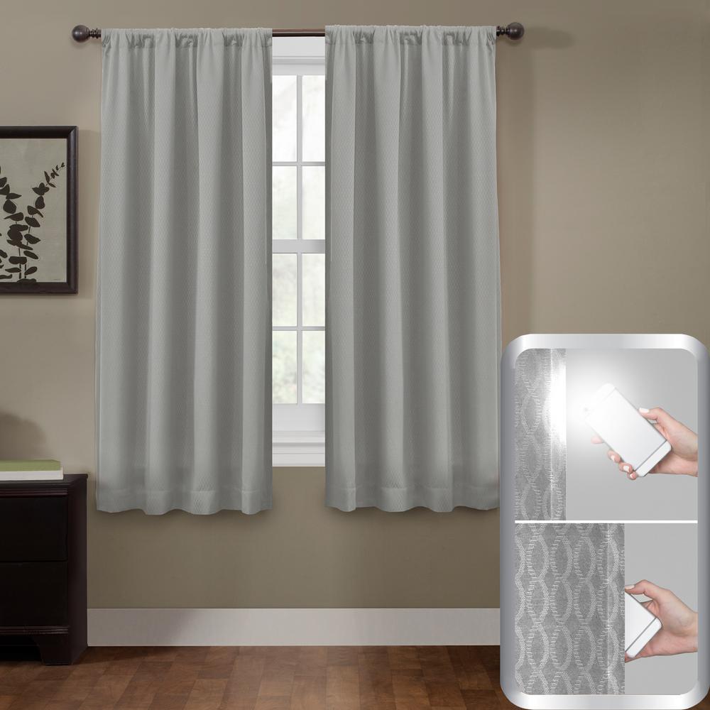Blackout Jamie Smart 50 in. x 63 in. Window Curtain Panel in Grey