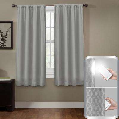 Blackout Jamie Smart 50 in. x 63 in. Window Curtain Panel in Grey