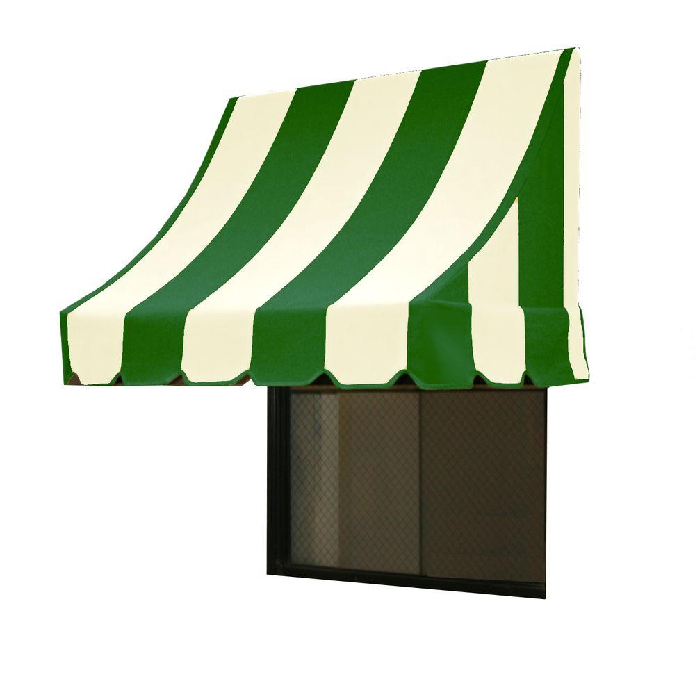AWNTECH 3 ft. Nantucket Window/Entry Awning (44 in. H x 36 in. D) in Forest/White Stripe