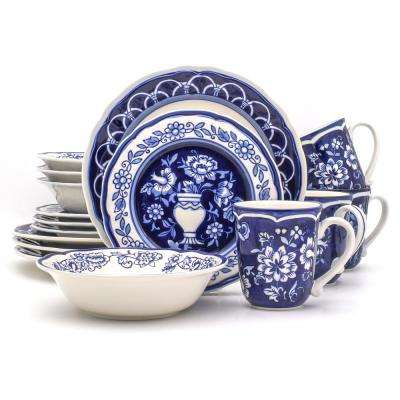 Blue Garden 16-Piece Hand-Painted Dinnerware Set