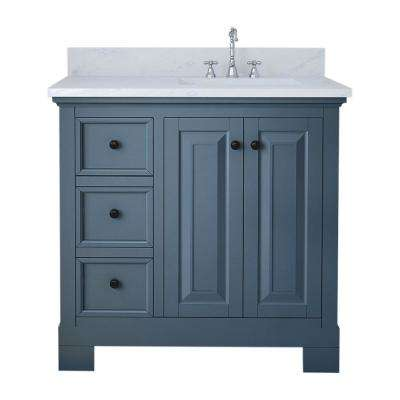 Eastwood 36 in. W x 34 in. H Bath Vanity in Gray with Marble Vanity Top in White with White Basin