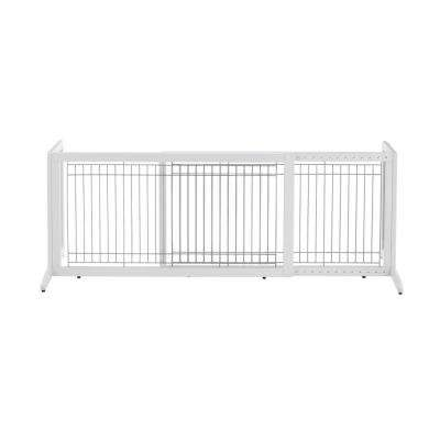20.1 in. x 71.3 in. White Large Wood Freestanding Pet Gate