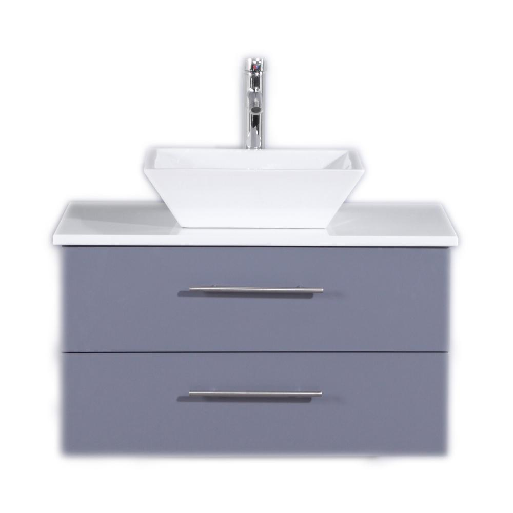 Eviva Totti Wave 30 in. W x 21 in. D x 22 in. H Vanity in Gray with Glassos Vanity Top in White with White Basin
