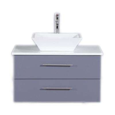 Totti Wave 30 in. W x 21 in. D x 22 in. H Vanity in Gray with Glassos Vanity Top in White with White Basin