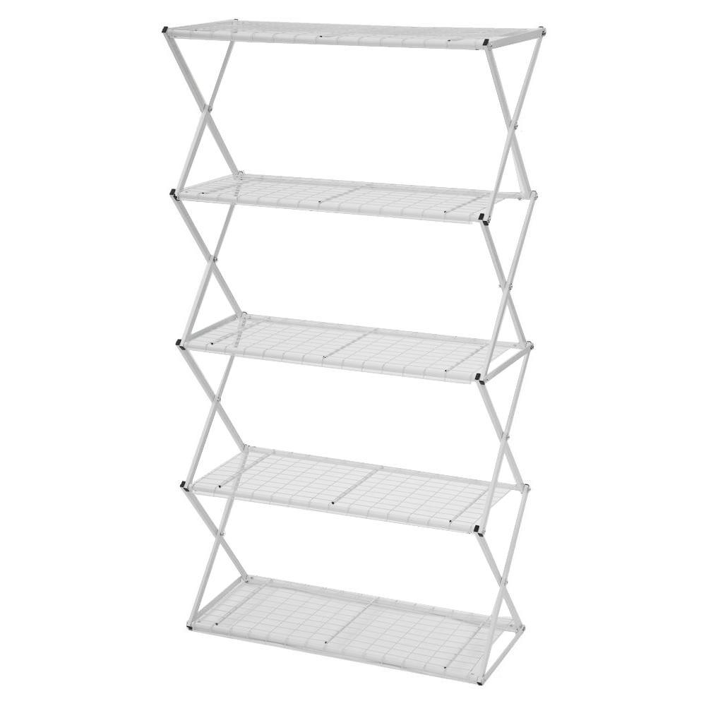 Exy 5 Tier White Powder Coated Steel Tube Shelving