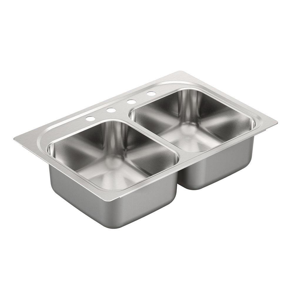 Moen Grayton 33 in. x 22 in. Stainless Steel 4-Hole Double Bowl Drop ...