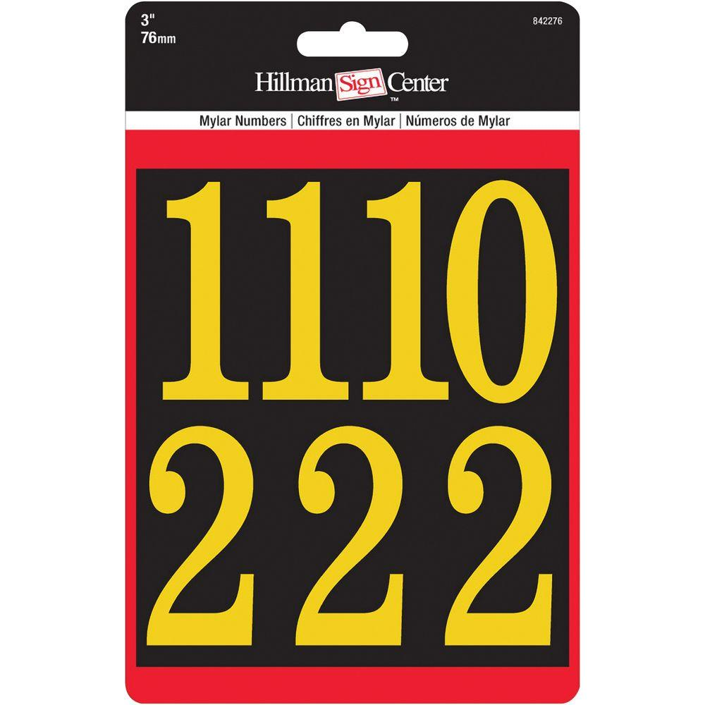 The Hillman Group 3 in. Mylar Peel and Stick Numbers Pack