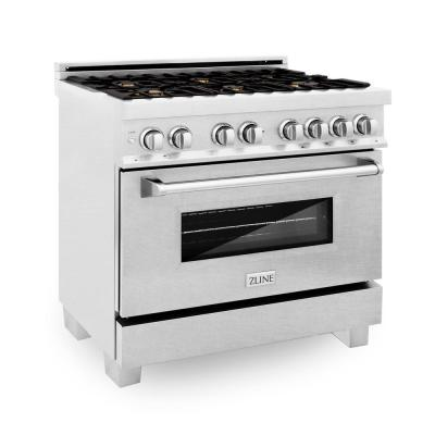 ZLINE 36 in. Professional 4.6 cu. ft. 6 Dual Fuel Range in DuraSnow Stainless Steel with Brass Burners (RAS-SN-BR-36)