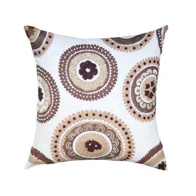 A1HC Maryam Brown/ White Suzani 20 in. Decorative Pillow