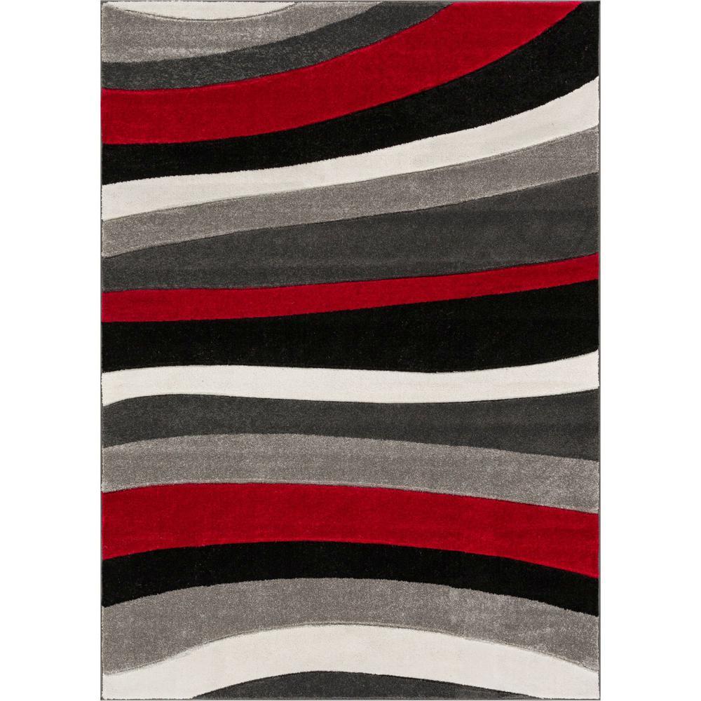 Ruby Rad Waves 5 ft. x 7 ft. Modern Geo Stripes Red Area Rug