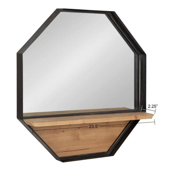 Kate And Laurel Owing Octagon Brown Black Metal Wall Mirror 215656 The Home Depot