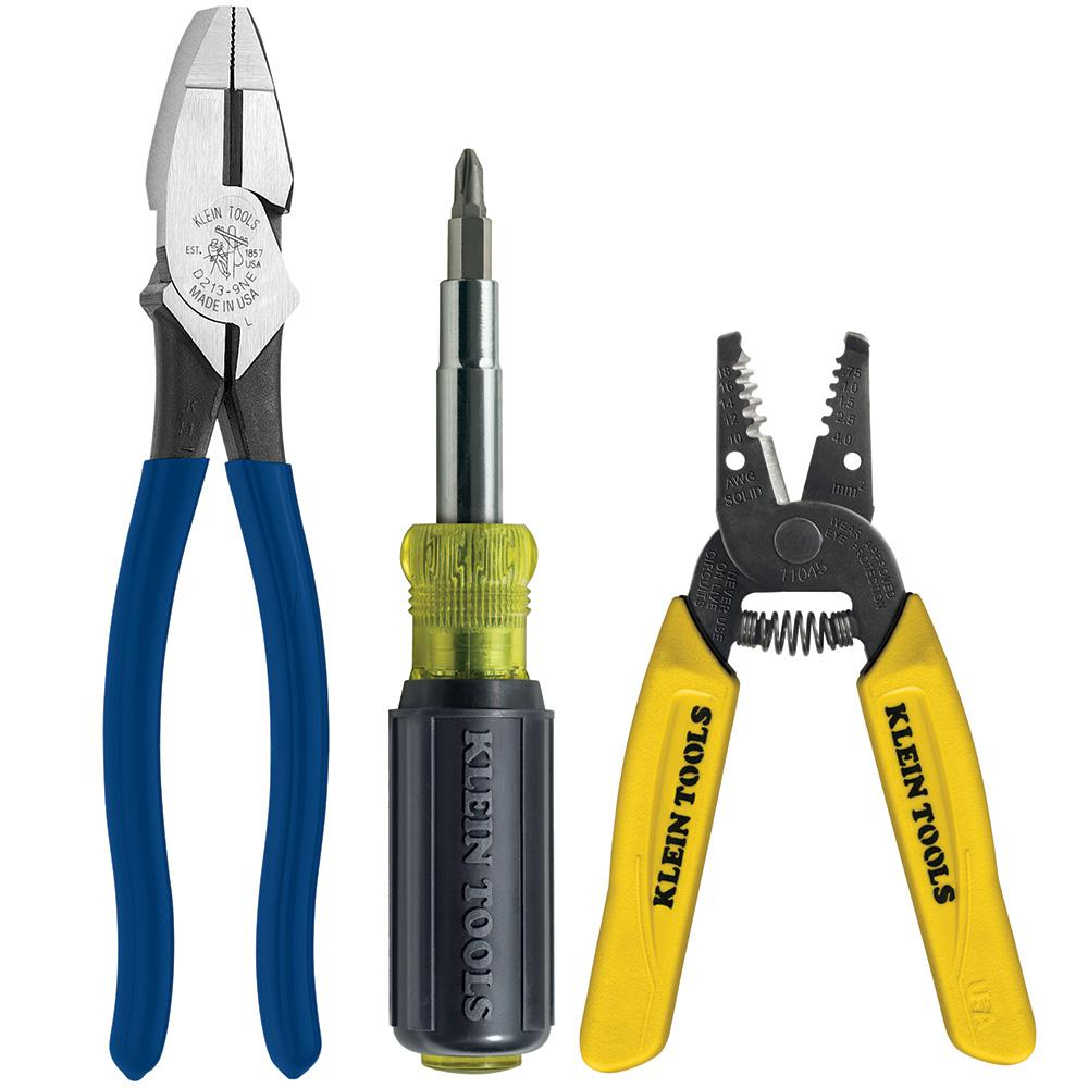 Klein tools 3 piece multi purpose electricians tool set mpz00050r klein tools 3 piece multi purpose electricians tool set greentooth Images