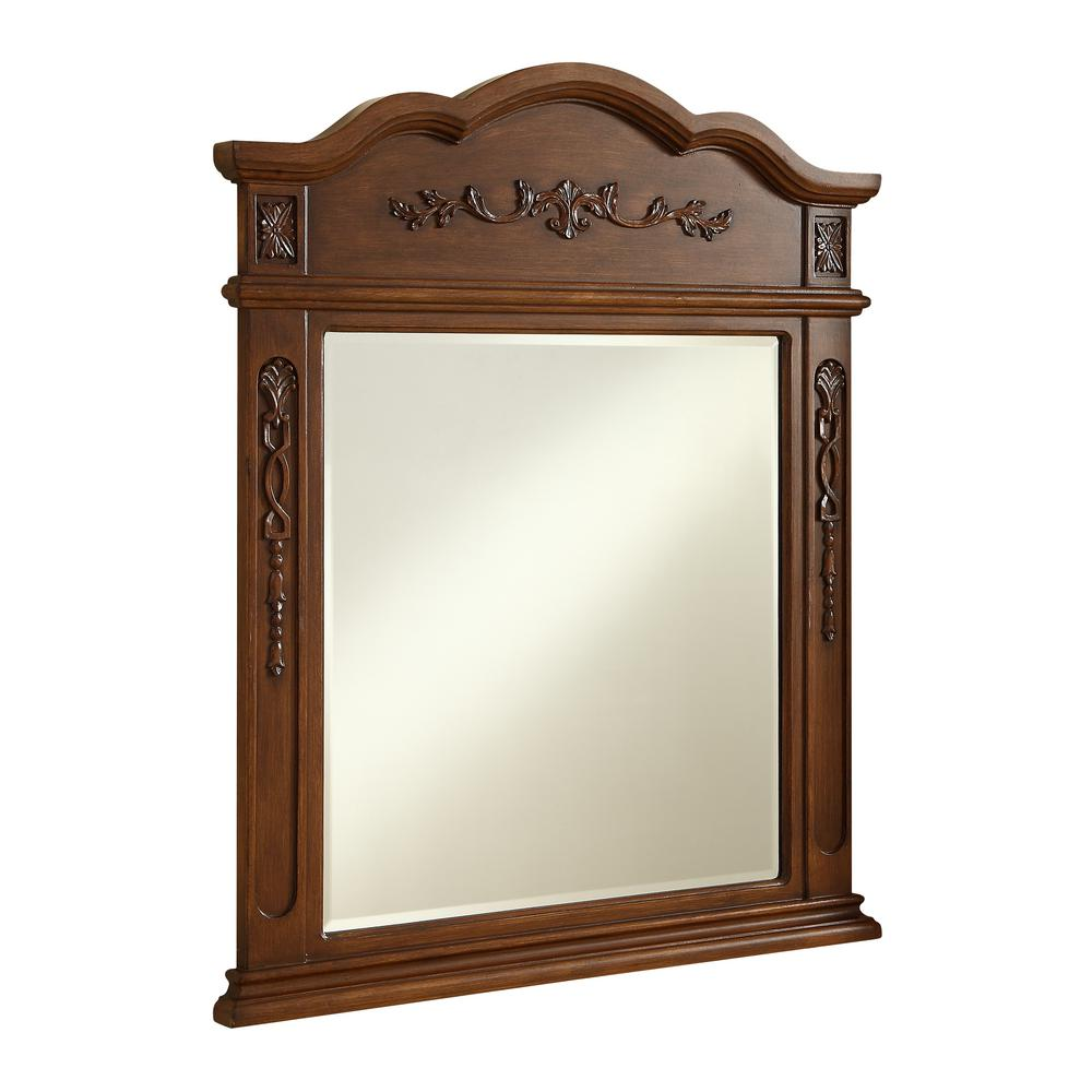 Timeless Home 38 in. H x 32 in. W Mid-Century Modern Traditional Irregular Framed Brown MDF Wall Mirror
