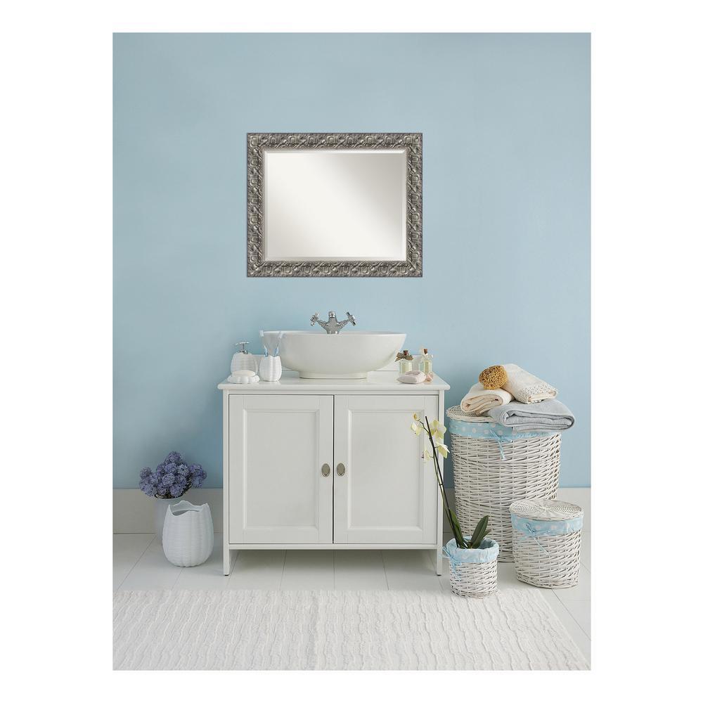 Silver Luxor Wood 34 in. W x 28 in. H Single Contemporary Bathroom Vanity Mirror