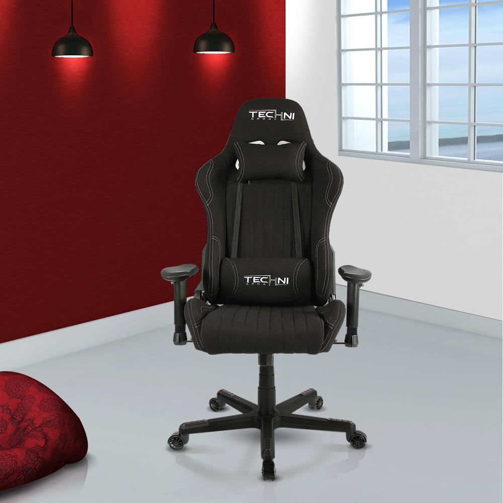 Techni Sport Black Fabric Ergonomic High Back Racer Style Video Gaming Chair