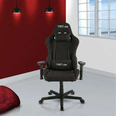 Black Fabric Ergonomic High Back Racer Style Video Gaming Chair