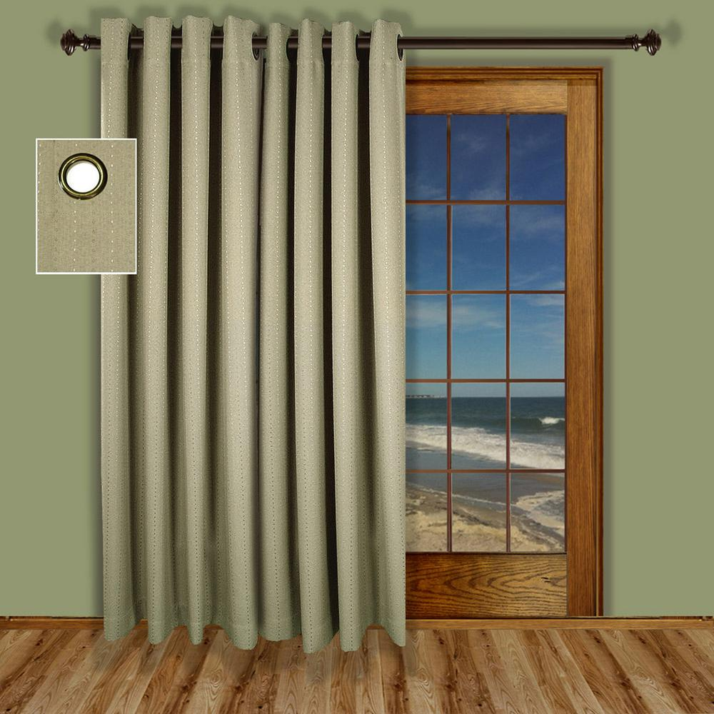 Ricardo Trading Grand Pointe 110 in. W x 84 in. L Polyester Blackout Grommet Patio Panel in Natural