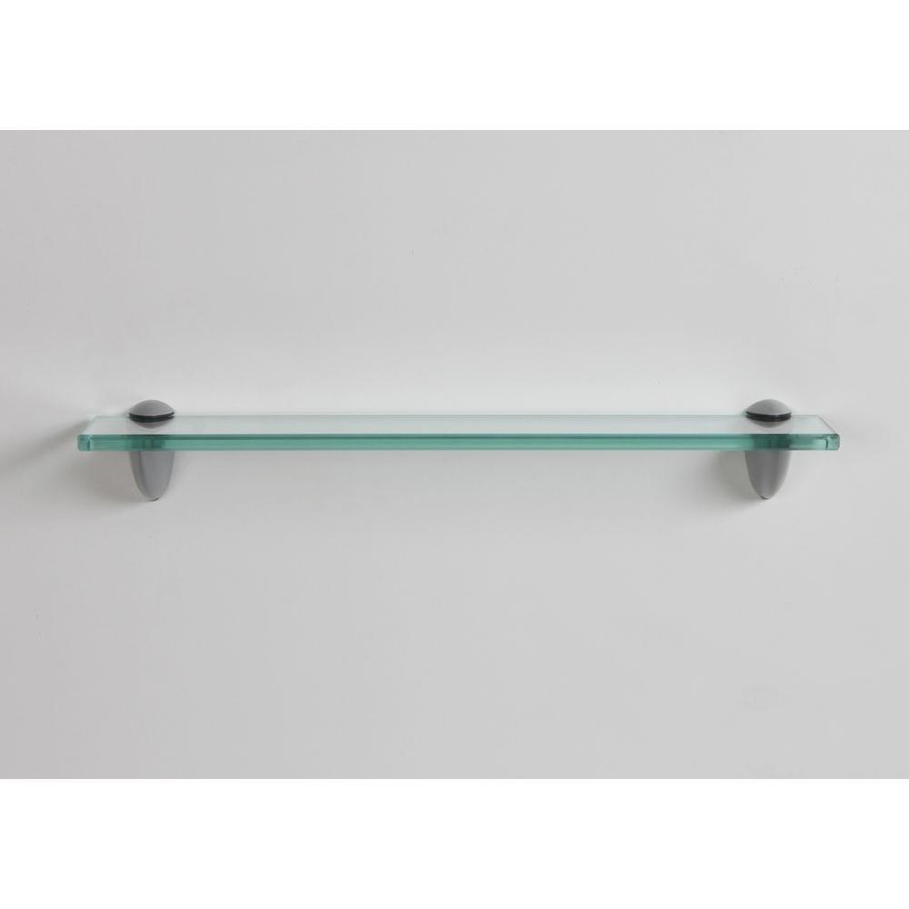 inPlace 18 in. W x 3.25 in. D x 2.6 in. H Clear Glass Bracketed Wall Shelf