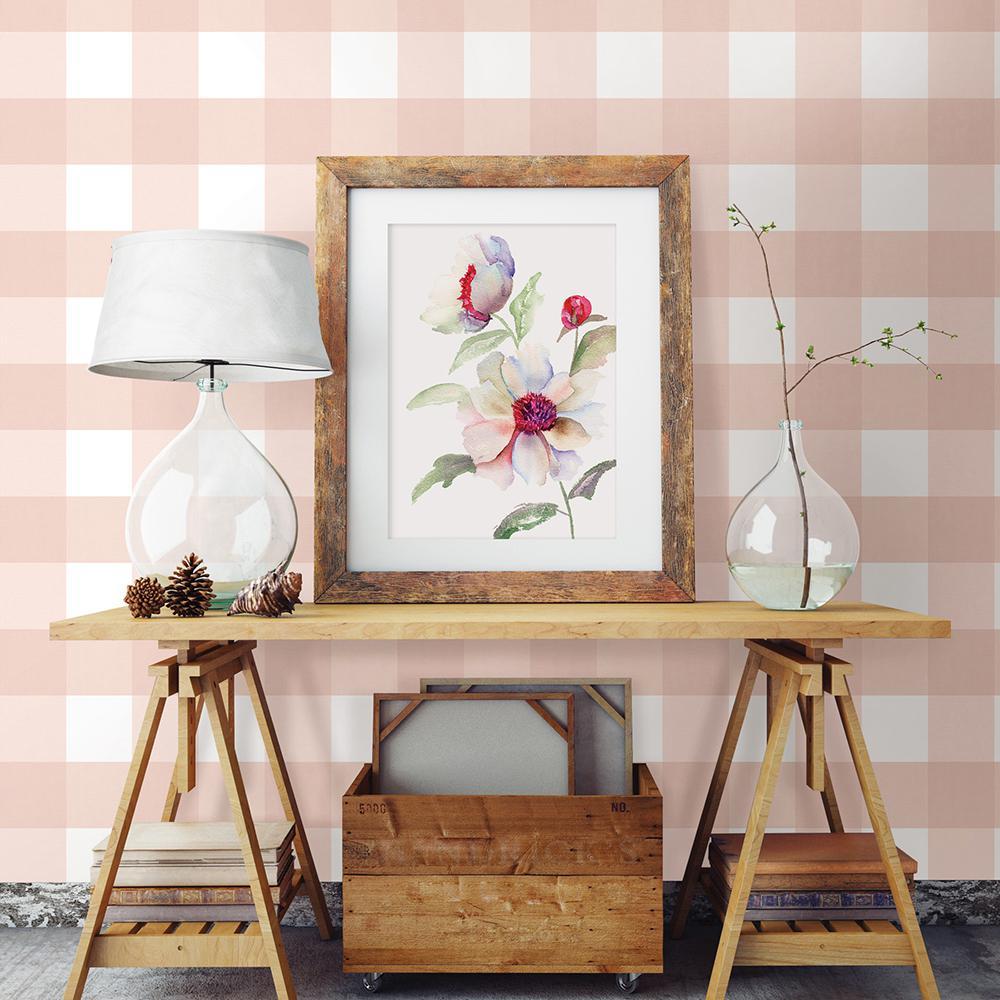 56.4 sq. ft. Selah Light Pink Gingham Wallpaper