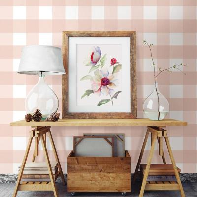 56.4 sq. ft. Selah Light Pink Gingham Wallpaper