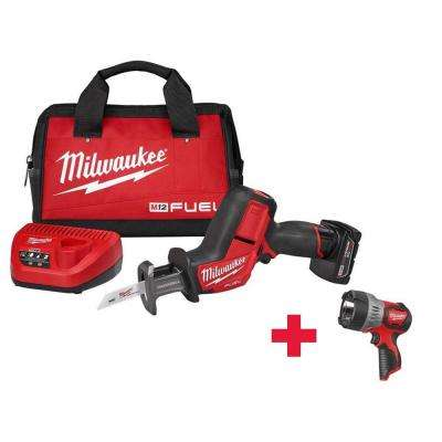 M12 FUEL 12-Volt Lithium-Ion Cordless HACKZALL Reciprocating Saw Kit with Free M12 Spot Light