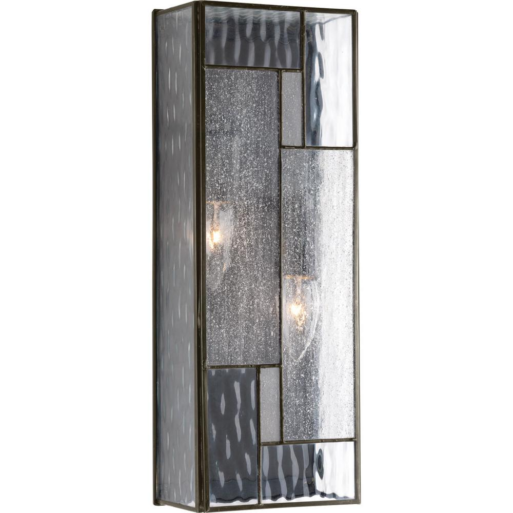 Progress Lighting Geometric Collection 2-Light Architectural Bronze 16 in. Outdoor Wall Lantern Sconce