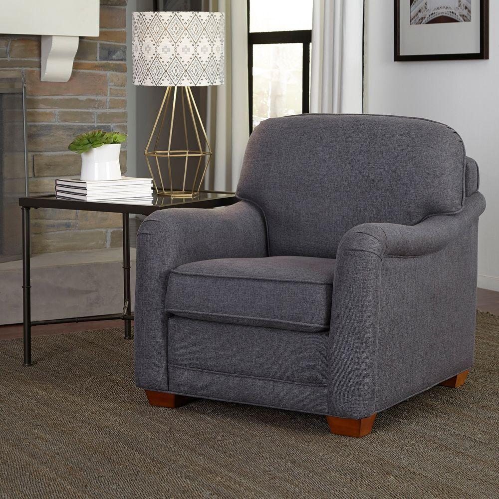 Magean Grey Fabric Arm Chair