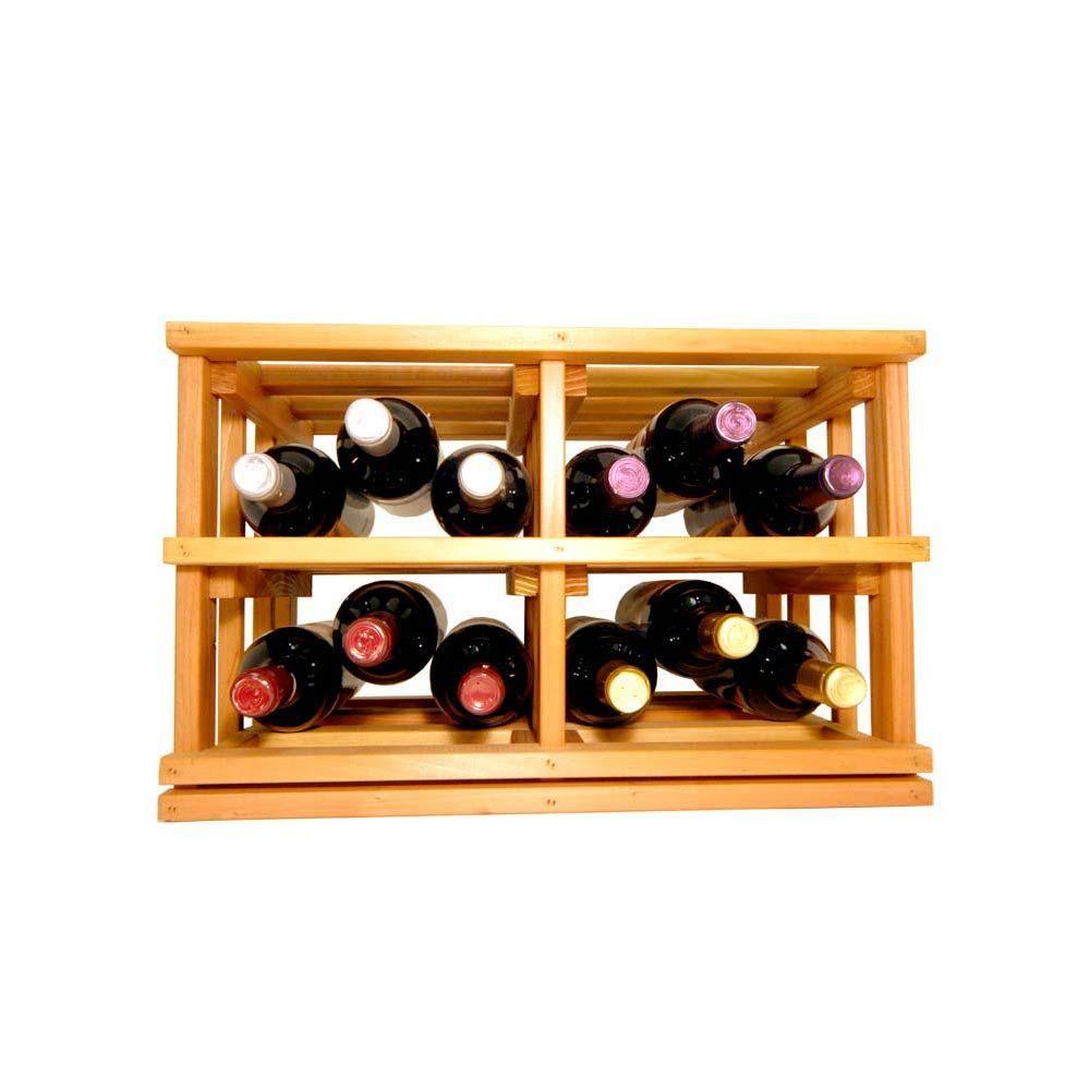 Mini Stack Series-Open Bin Light Stain Wine Rack 11-15/16 in. H x 18-11/16 in. W x 13-1/2 in. D