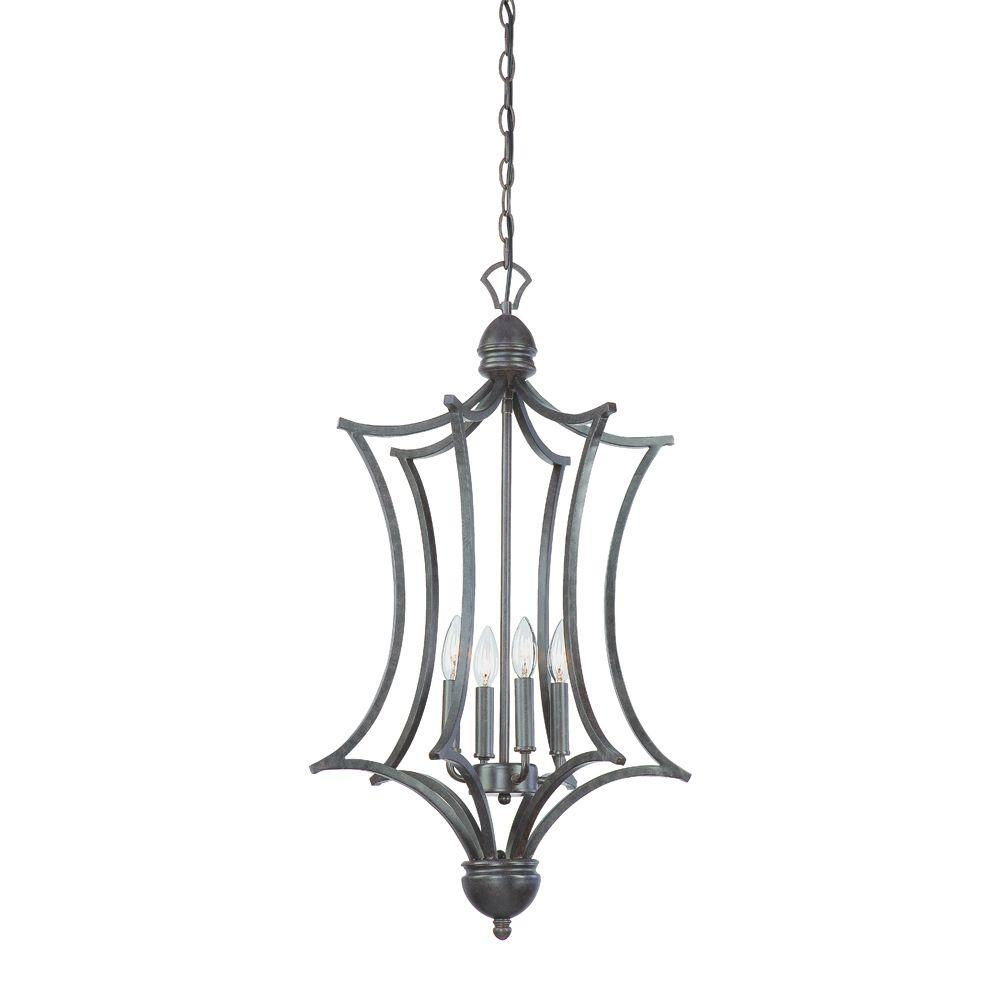 Thomas lighting triton 4 light sable bronze cage foyer fixture