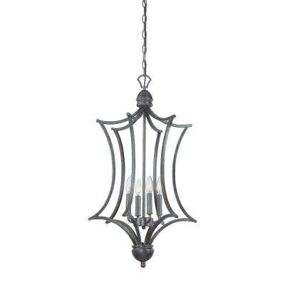 Triton 4-Light Sable Bronze Cage Foyer Fixture