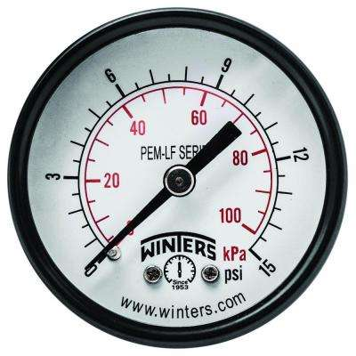 PEM-LF Series 2 in. Lead-Free Brass Pressure Gauge with 1/8 in. NPT CBM and 0-15 psi/kPa