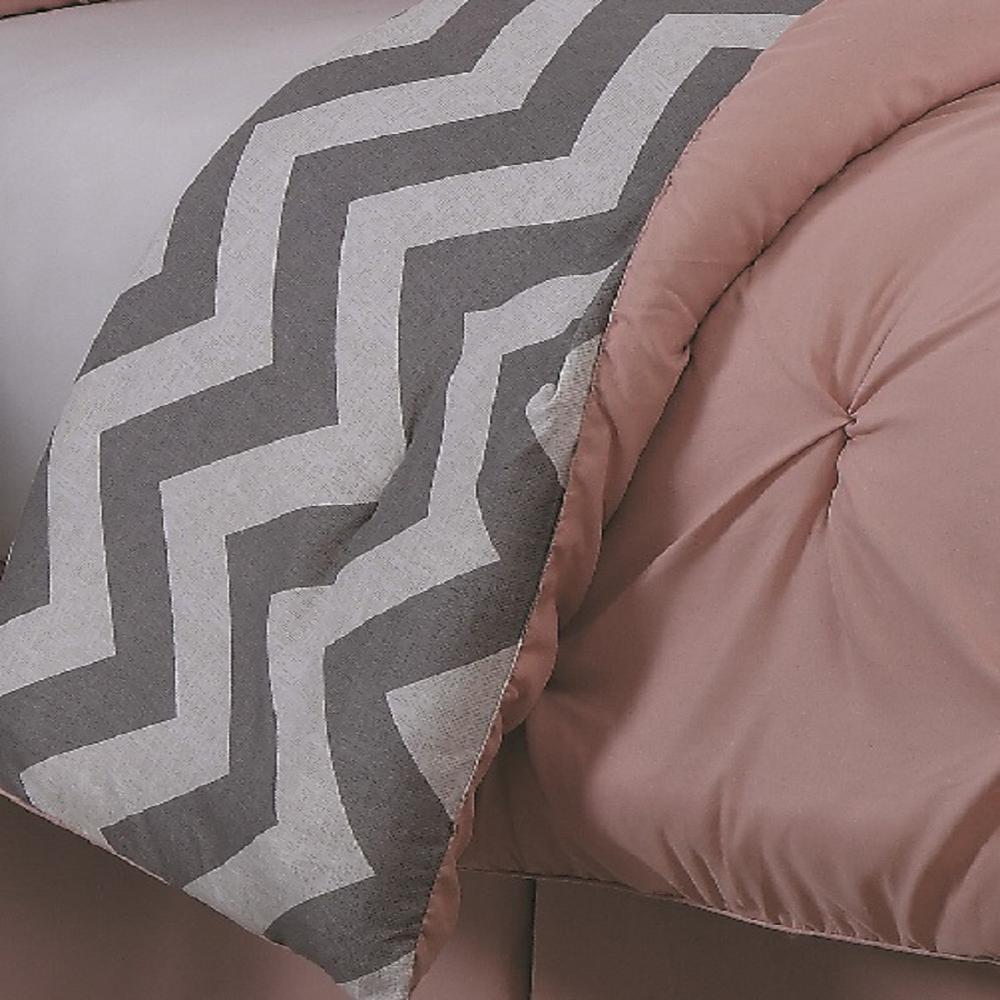 Ella Pinch Pleat Blush Queen Reversible Comforter with Bedskirt