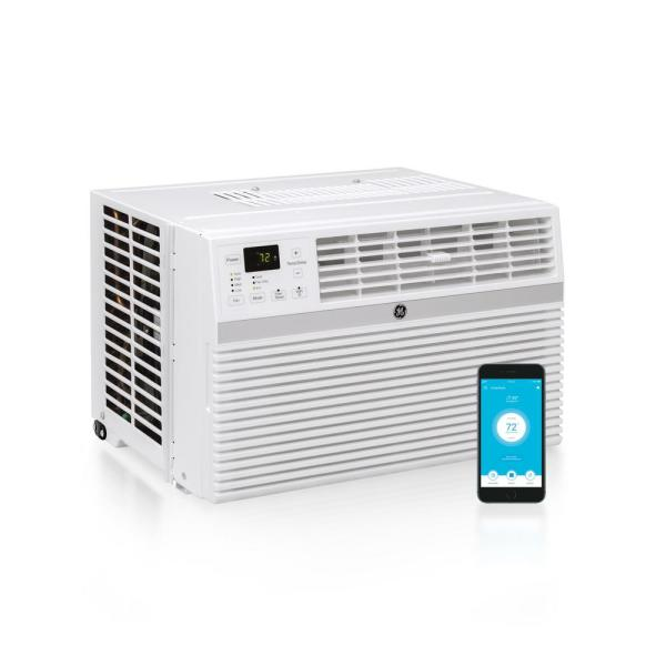 GE 18,000/17,600 BTU 230/208-Volt Smart Window Air Conditioner with Remote  in White-AEC18DY - The Home Depot