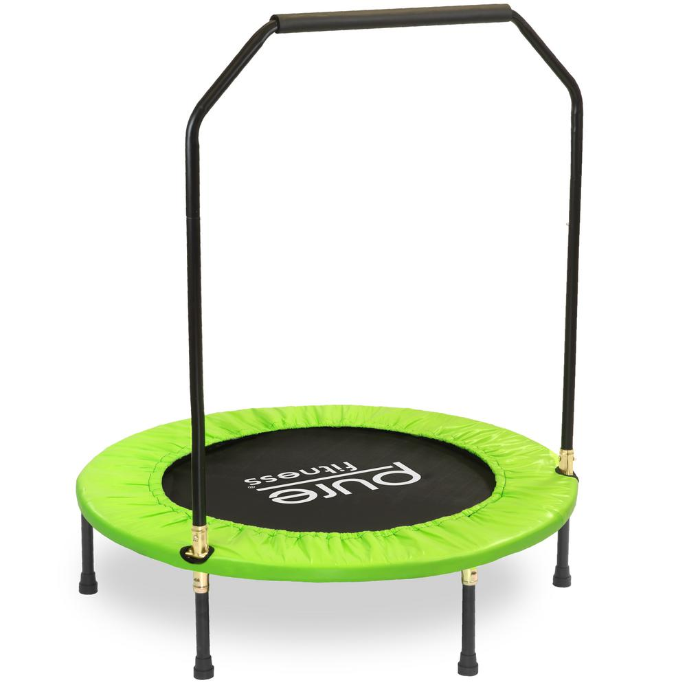 pure fitness 40 in mini trampoline with handrail rebounder 9040mth