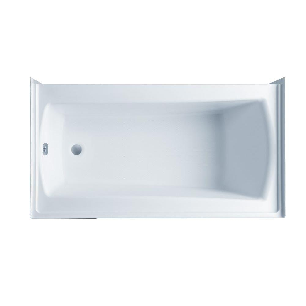 Aquatic Cooper 32 60 in. Acrylic Right Drain Rectangular Alcove Whirlpool Bathtub with Heater in White